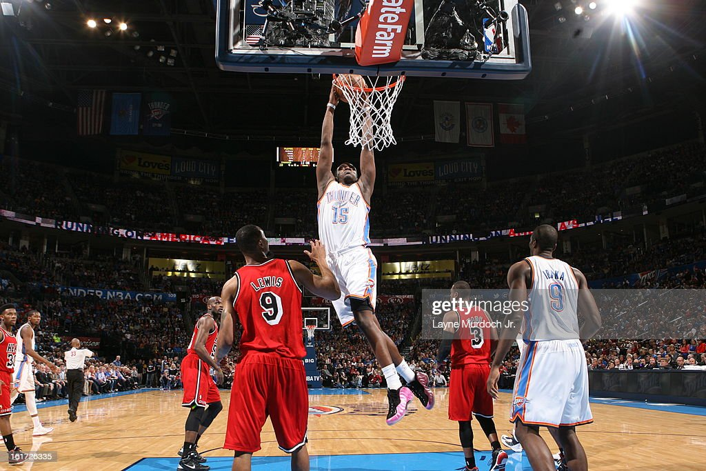 Reggie Jackson #15 of the Oklahoma City Thunder goes up for the dunk against the Miami Heat during an NBA game on February 14, 2013 at the Chesapeake Energy Arena in Oklahoma City, Oklahoma.