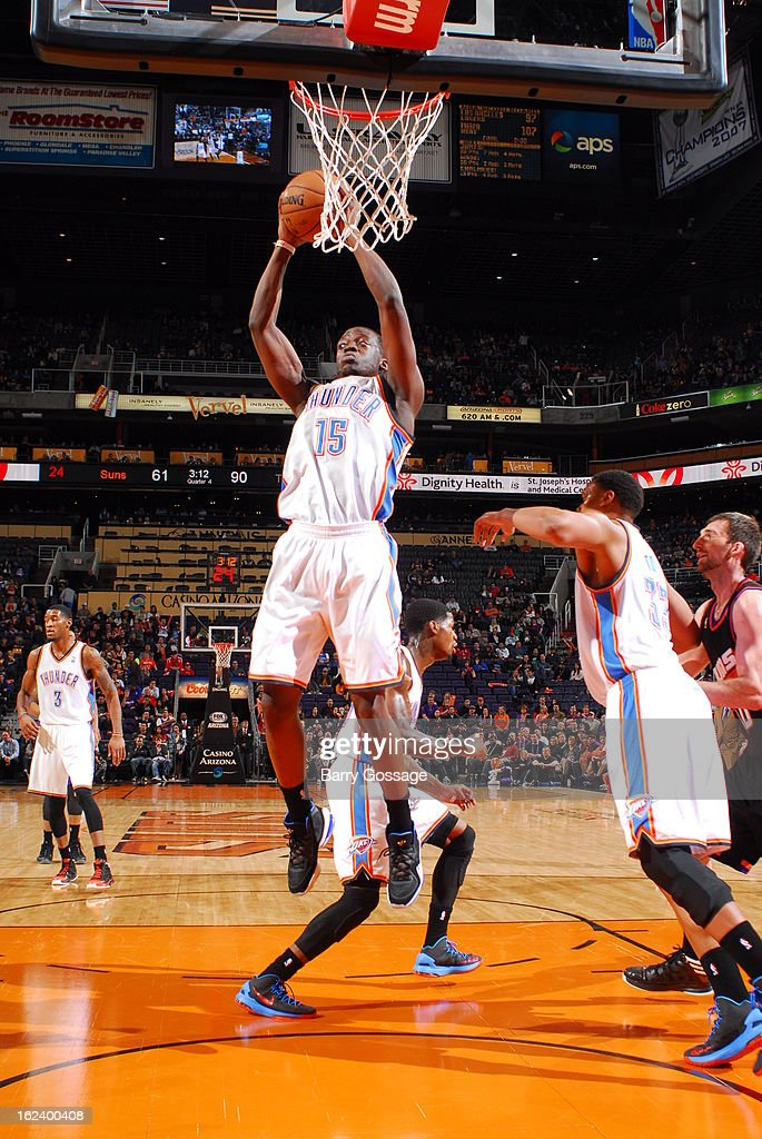 Reggie Jackson #15 of the Oklahoma City Thunder goes up for the shot against the Phoenix Suns on February 10, 2013 at U.S. Airways Center in Phoenix, Arizona.