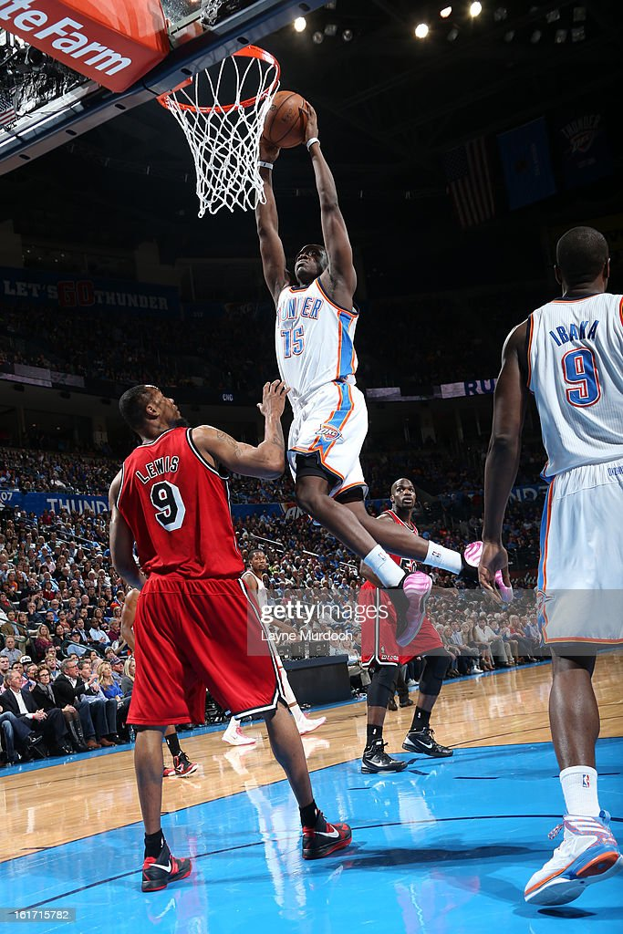 Reggie Jackson #15 of the Oklahoma City Thunder goes up for the slamdunk against the Miami Heat during an NBA game on February 14, 2013 at the Chesapeake Energy Arena in Oklahoma City, Oklahoma.