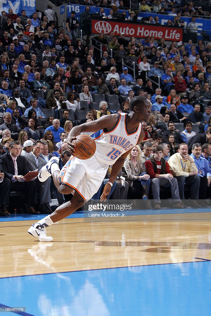 Reggie Jackson #15 of the Oklahoma City Thunder grabs a rebound and pushes the ball up the floor against the Memphis Grizzlies during an NBA game on January 31, 2013 at the Chesapeake Energy Arena in Oklahoma City, Oklahoma.