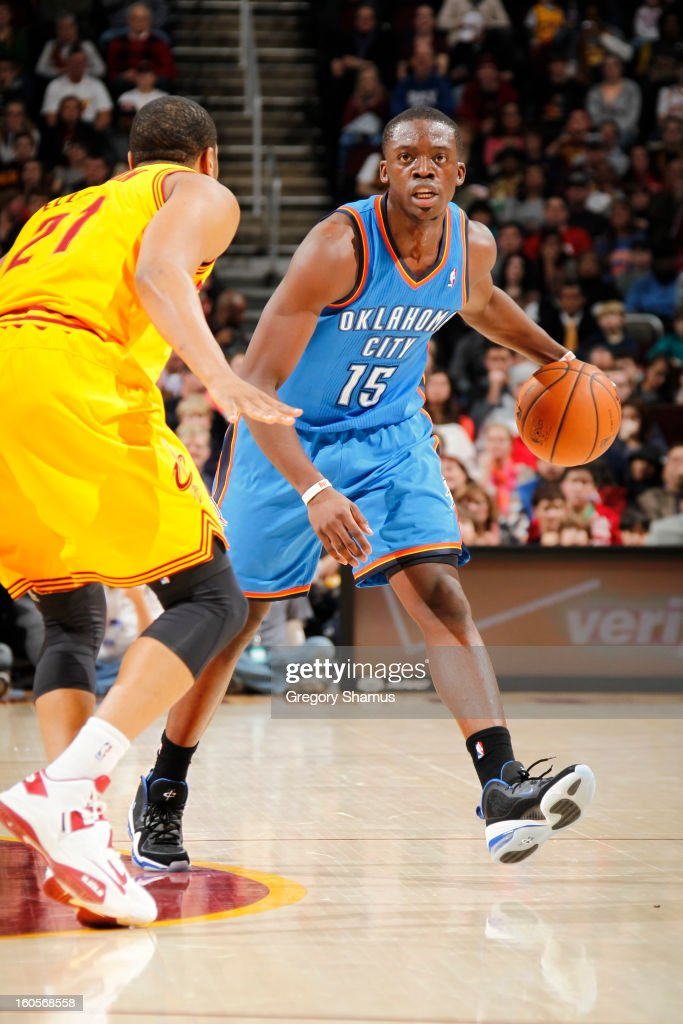Reggie Jackson #15 of the Oklahoma City Thunder handles the ball against the Cleveland Cavaliers at The Quicken Loans Arena on February 2, 2013 in Cleveland, Ohio.