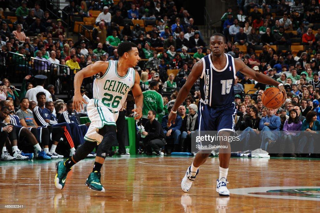 Reggie Jackson #15 of the Oklahoma City Thunder handles the ball against the Boston Celtics on January 24, 2014 at the TD Garden in Boston, Massachusetts.