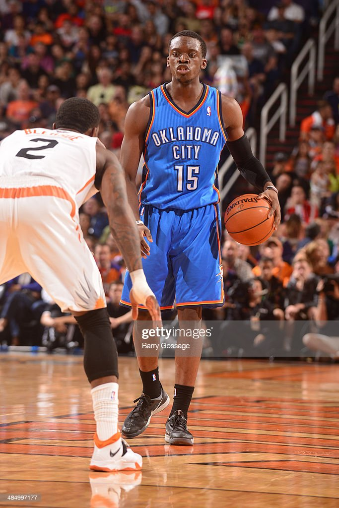 Reggie Jackson #15 of the Oklahoma City Thunder handles the ball against the Phoenix Suns on April 6, 2014 at U.S. Airways Center in Phoenix, Arizona.
