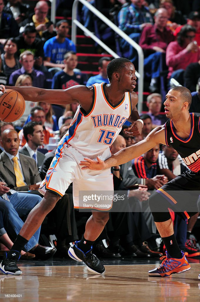 Reggie Jackson #15 of the Oklahoma City Thunder looks to pass the ball against the Phoenix Suns on February 10, 2013 at U.S. Airways Center in Phoenix, Arizona.