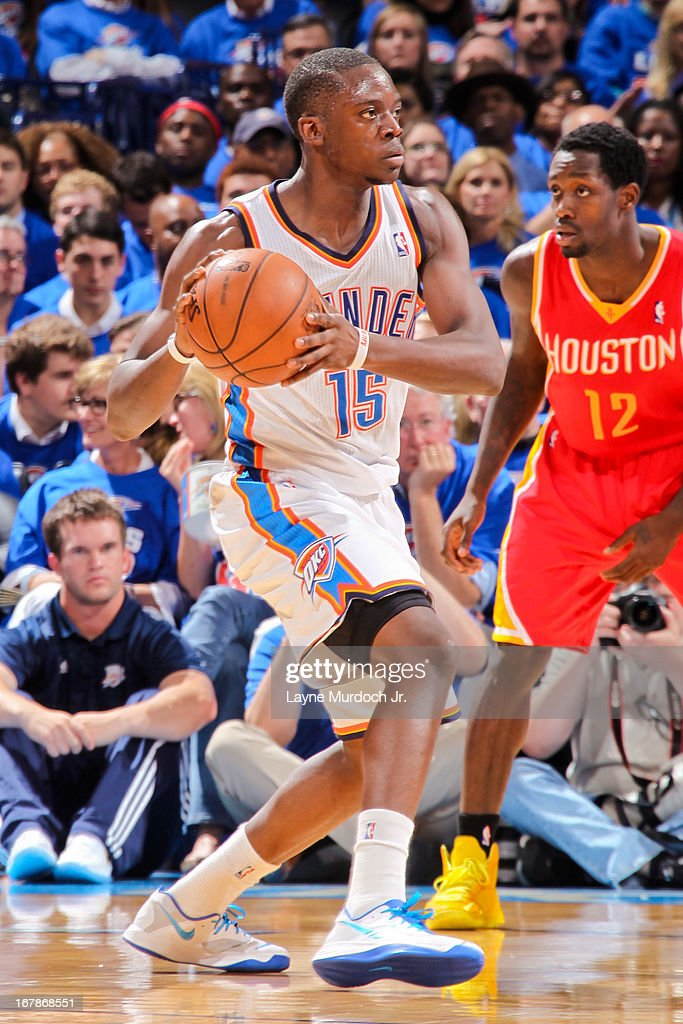 Reggie Jackson #15 of the Oklahoma City Thunder looks to pass the ball against the Houston Rockets in Game Five of the Western Conference Quarterfinals during the 2013 NBA Playoffs on May 1, 2013 at the Chesapeake Energy Arena in Oklahoma City, Oklahoma.