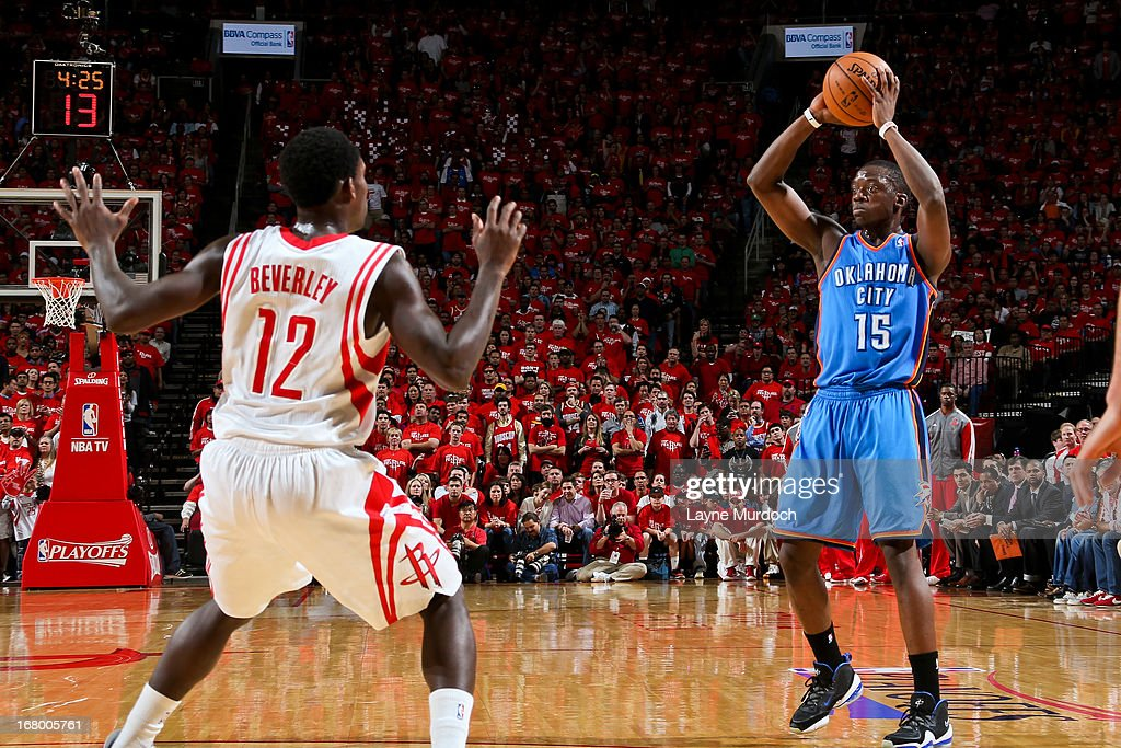 Reggie Jackson #15 of the Oklahoma City Thunder looks to pass the ball against the Houston Rockets in Game Six of the Western Conference Quarterfinals during the 2013 NBA Playoffs on May 3, 2013 at the Toyota Center in Houston, Texas.