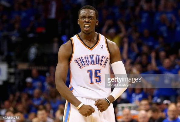 Reggie Jackson of the Oklahoma City Thunder reacts after a play in the second half against the San Antonio Spurs during Game Three of the Western...