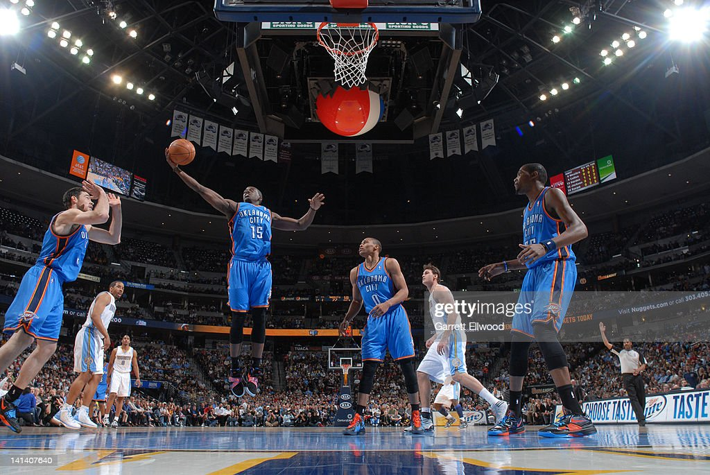 Reggie Jackson #15 of the Oklahoma City Thunder rebounds against the Denver Nuggets on March 15, 2012 at the Pepsi Center in Denver, Colorado.