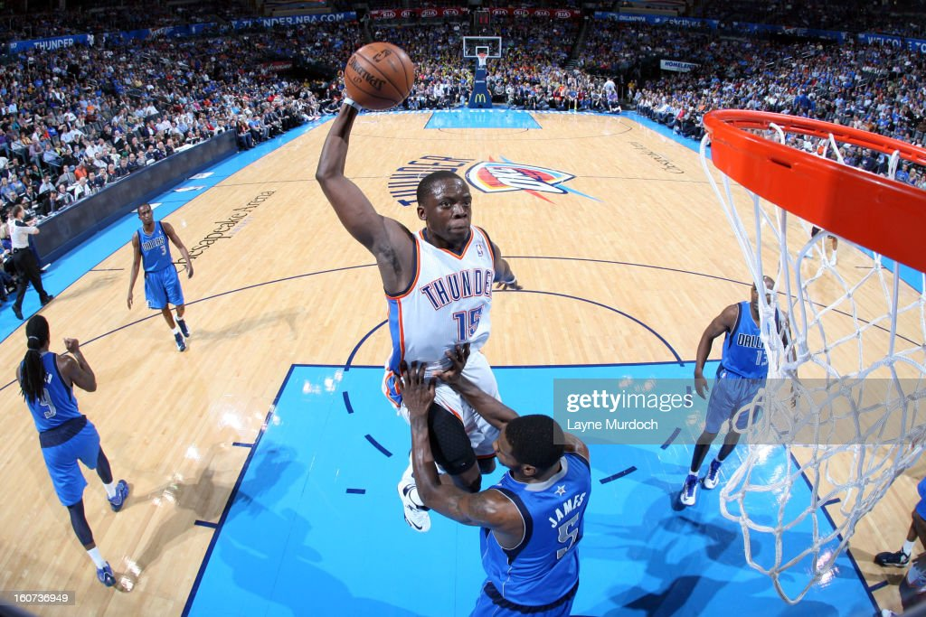 Reggie Jackson #15 of the Oklahoma City Thunder rises for a dunk against <a gi-track='captionPersonalityLinkClicked' href=/galleries/search?phrase=Bernard+James&family=editorial&specificpeople=7387529 ng-click='$event.stopPropagation()'>Bernard James</a> #5 of the Dallas Mavericks on February 4, 2013 at the Chesapeake Energy Arena in Oklahoma City, Oklahoma.
