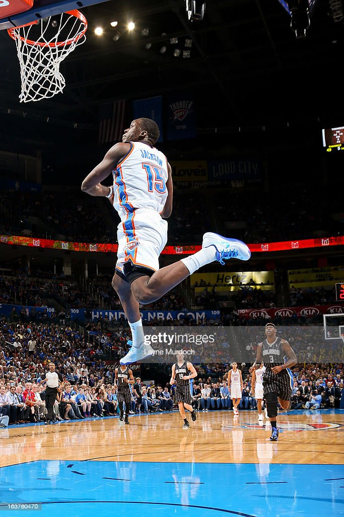 Reggie Jackson #15 of the Oklahoma City Thunder rises for a dunk on a fast break against the Orlando Magic on March 15, 2013 at the Chesapeake Energy Arena in Oklahoma City, Oklahoma.