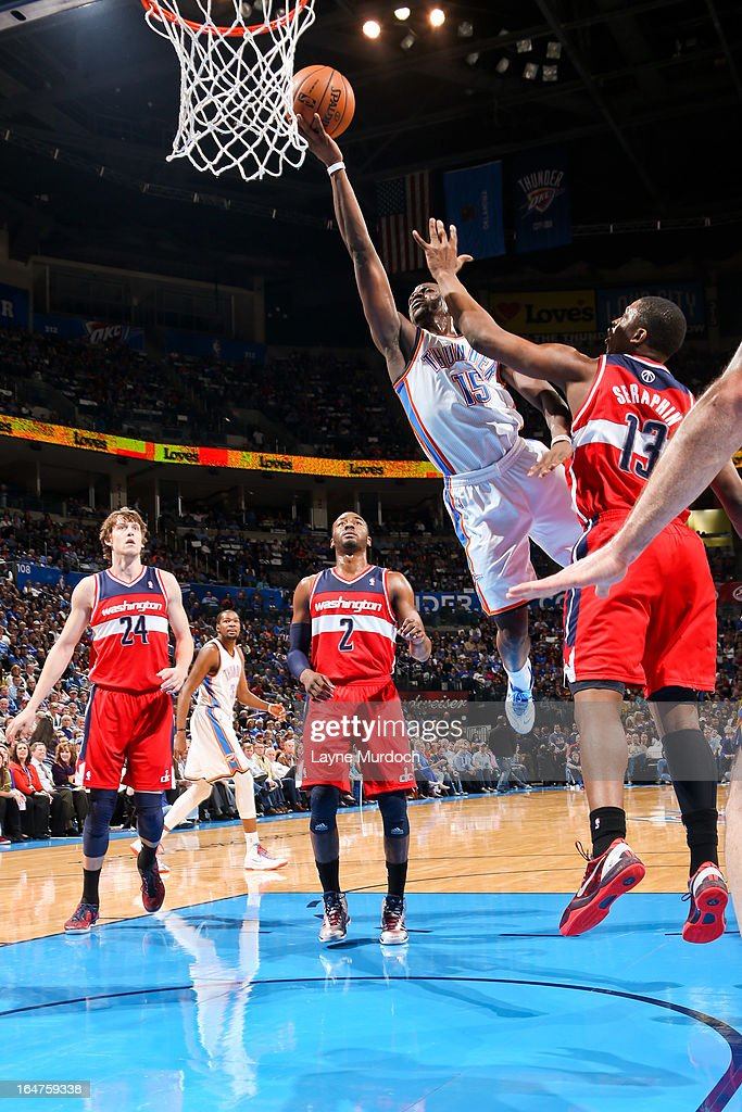 Reggie Jackson #15 of the Oklahoma City Thunder shoots a layup against Kevin Seraphin #13 of the Washington Wizards on March 27, 2013 at the Chesapeake Energy Arena in Oklahoma City, Oklahoma.
