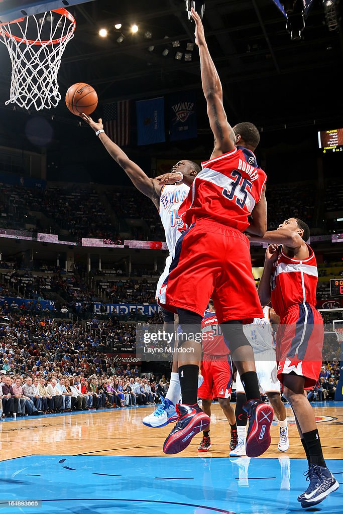 Reggie Jackson #15 of the Oklahoma City Thunder shoots a layup against <a gi-track='captionPersonalityLinkClicked' href=/galleries/search?phrase=Trevor+Booker&family=editorial&specificpeople=4123563 ng-click='$event.stopPropagation()'>Trevor Booker</a> #35 of the Washington Wizards on March 27, 2013 at the Chesapeake Energy Arena in Oklahoma City, Oklahoma.