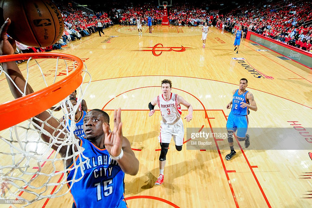 Reggie Jackson #15 of the Oklahoma City Thunder shoots a layup on a fast break against the Houston Rockets in Game Four of the Western Conference Quarterfinals during the 2013 NBA Playoffs on April 29, 2013 at the Toyota Center in Houston, Texas.