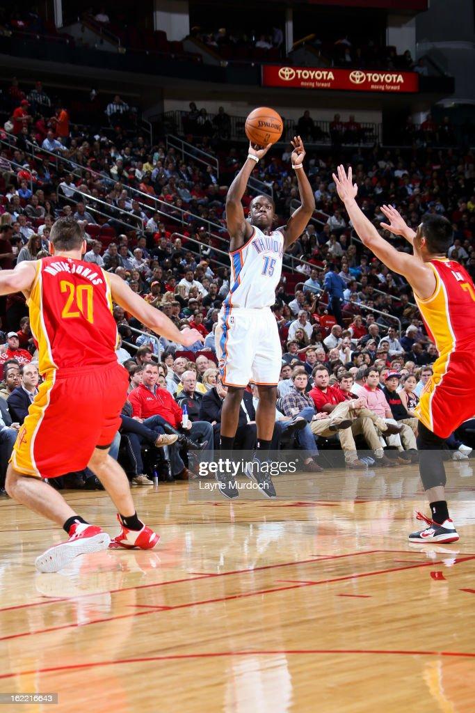 Reggie Jackson #15 of the Oklahoma City Thunder shoots a three-pointer against Jeremy Lin #7 of the Houston Rockets on February 20, 2013 at the Toyota Center in Houston, Texas.