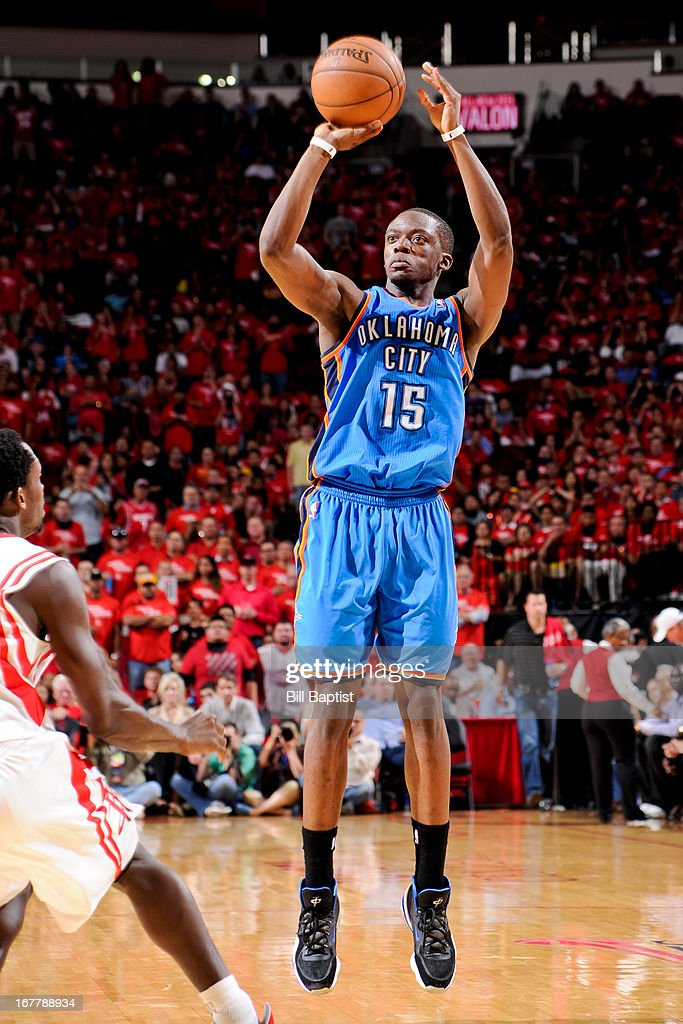 Reggie Jackson #15 of the Oklahoma City Thunder shoots against the Houston Rockets in Game Four of the Western Conference Quarterfinals during the 2013 NBA Playoffs on April 29, 2013 at the Toyota Center in Houston, Texas.