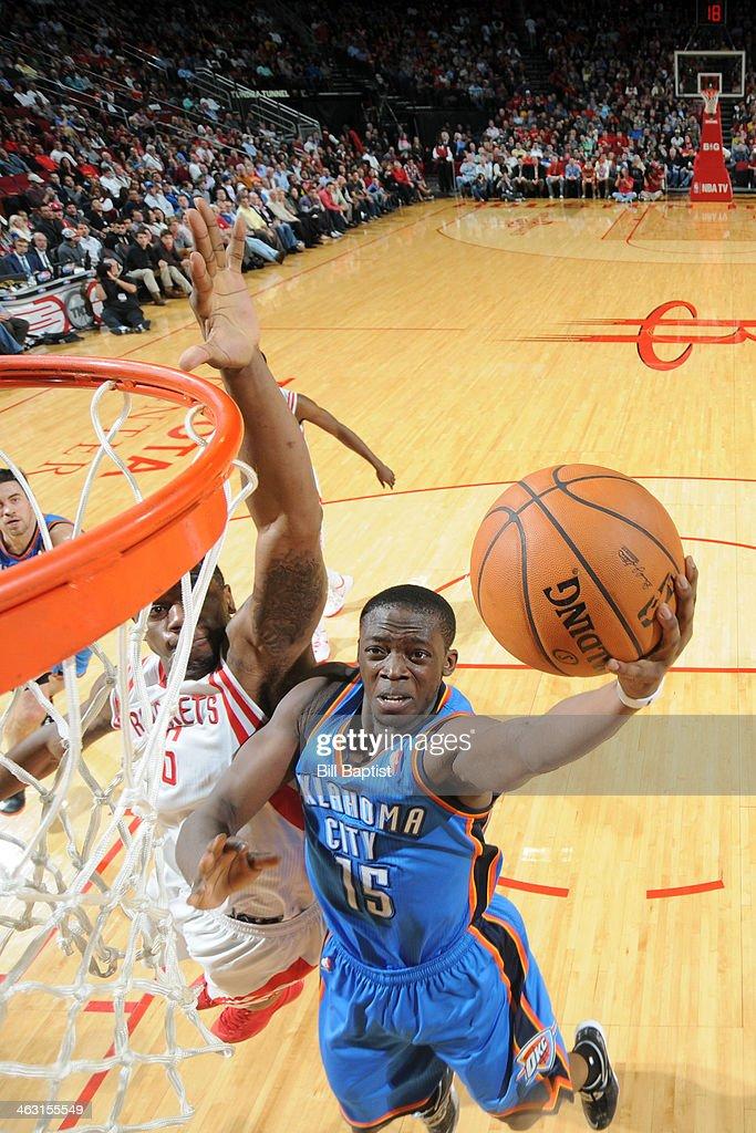 Reggie Jackson #15 of the Oklahoma City Thunder shoots against the Houston Rockets on January 16, 2014 at the Toyota Center in Houston, Texas.