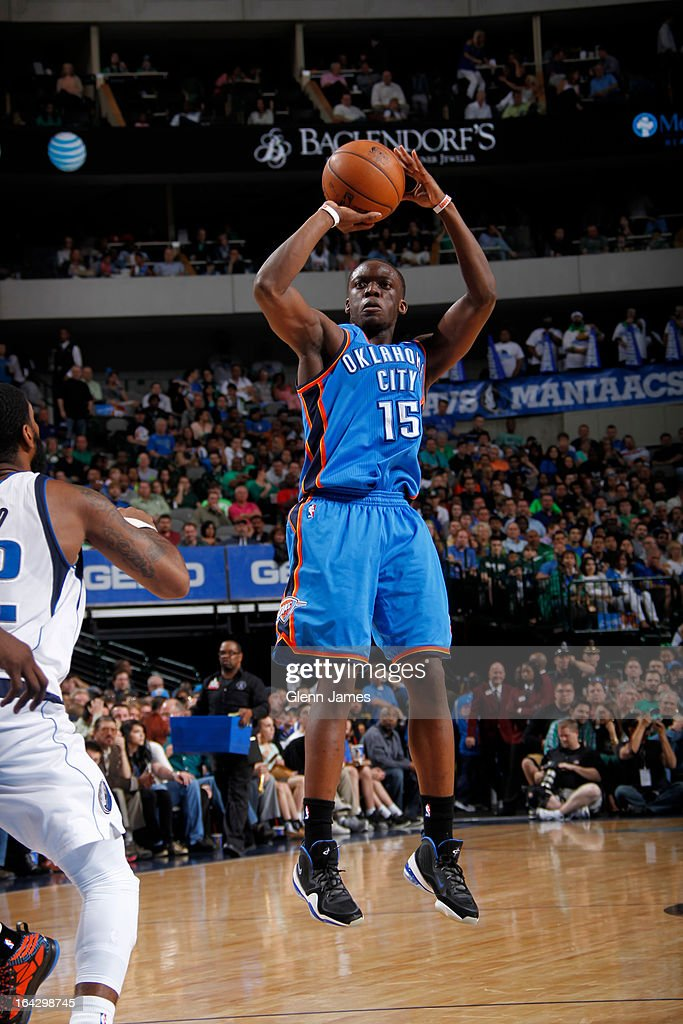 Reggie Jackson #15 of the Oklahoma City Thunder takes a shot against the Dallas Mavericks on March 17, 2013 at the American Airlines Center in Dallas, Texas.