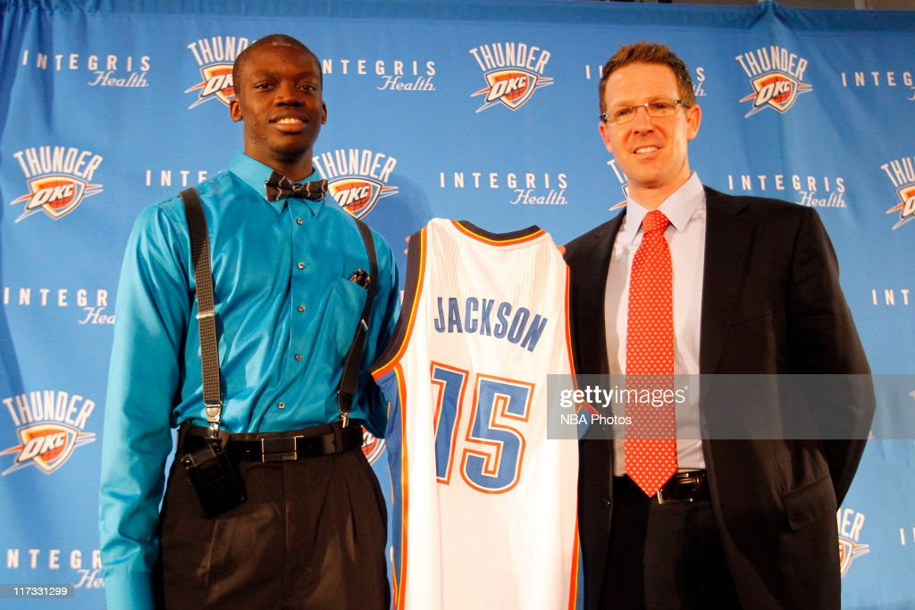 Reggie Jackson, the Oklahoma City Thunder first round draft pick is introduced to the media by Thunder Executive Vice President and General Manager Sam Presti at the Boys & Girls Club of Oklahoma County on June 25, 2011 in Oklahoma City, Oklahoma.