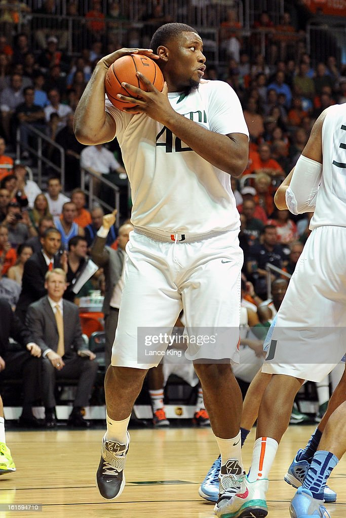 Reggie Johnson #42 of the Miami Hurricanes grabs a rebound against the North Carolina Tar Heels at the BankUnited Center on February 9, 2013 in Coral Gables, Florida. Miami defeated North Carolina 87-61.