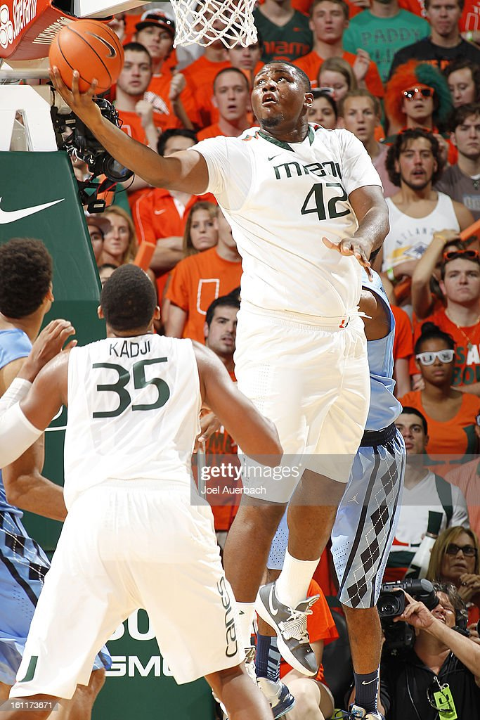 Reggie Johnson #42 of the Miami Hurricanes scores from under the basket against the North Carolina Tar Heels on February 9, 2013 at the BankUnited Center in Coral Gables, Florida. Miami defeated North Carolina 87-61.
