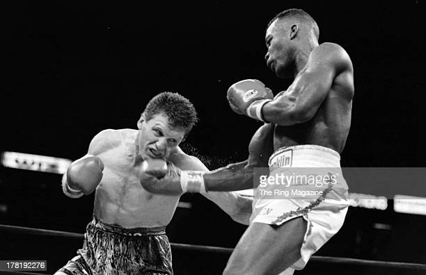 Reggie Johnson throws an uppercut against Steve Collins during the fight at Meadowlands Arena in East Rutherford New Jersey Reggie Johnson won vacant...