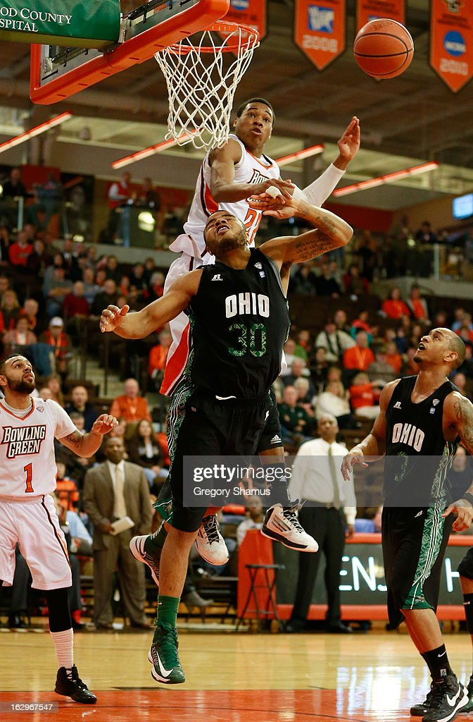 Reggie Keely #30 of the Ohio Bobcats gets his first half shot blocked by Richaun Holmes #22 of the Bowling Green Falcons at the Stroh Center on March 2, 2013 in Bowling Green, Ohio. Ohio won the game 78-65.