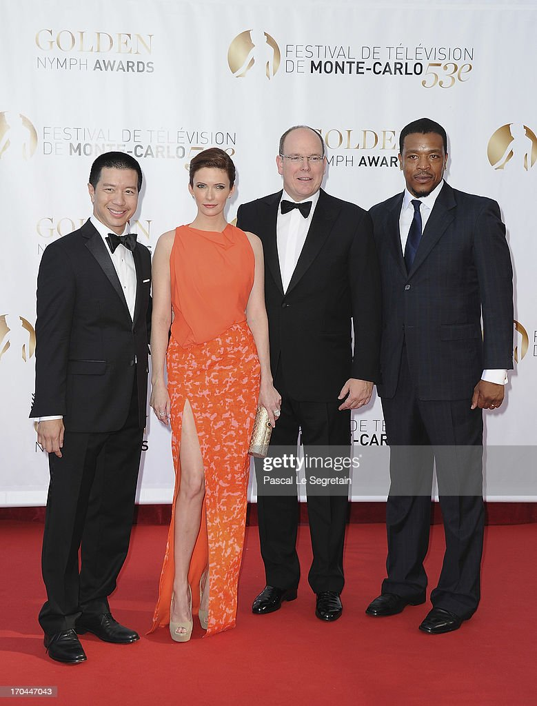 Reggie Lee, Bitsie Tulloch, Prince Albert II of Monaco and Russel Hornsby attend the closing ceremony of the 53rd Monte Carlo TV Festival on June 13, 2013 in Monte-Carlo, Monaco.