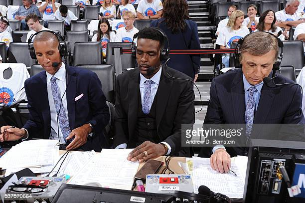 Reggie Miller Chris Webber and Marv Albert get ready to announce Game Four of the Western Conference Finals between the Golden State Warriors and the...