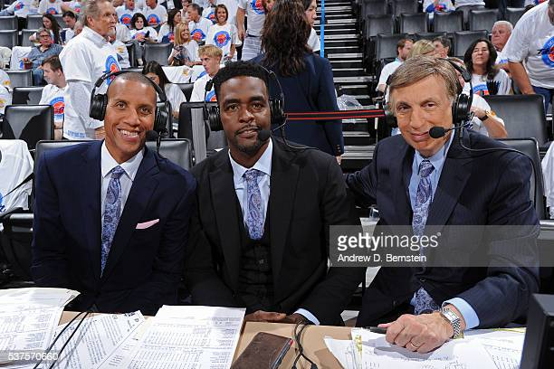 Reggie Miller Chris Webber and Marv Albert pose for a photo before they announce Game Four of the Western Conference Finals between the Golden State...