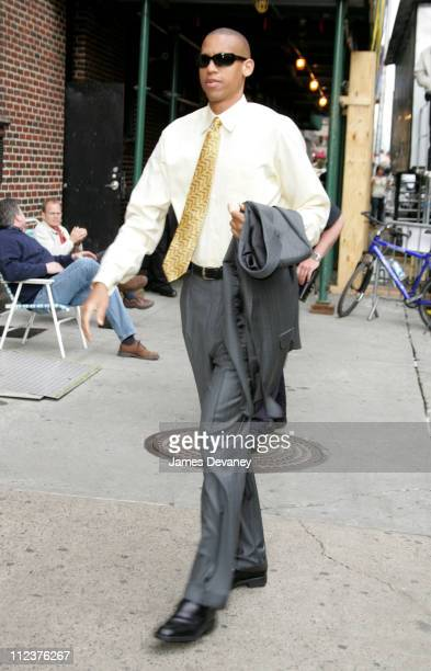 Reggie Miller during Adam Sandler and Reggie Miller Visit the 'Late Show with David Letterman' May 24 2005 at Ed Sullivan Theatre in New York City...