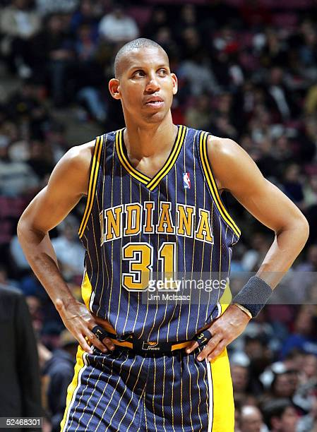 Reggie Miller of the Indiana Pacers looks into the crowd during a time out during their game against the New Jersey Nets on March 22 2005 at...