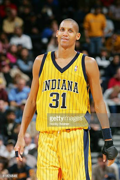 Reggie Miller of the Indiana Pacers reacts during the 4th Qtr against the Golden State Warriors at the Arena in Oakland on December 4 2004 in Oakland...