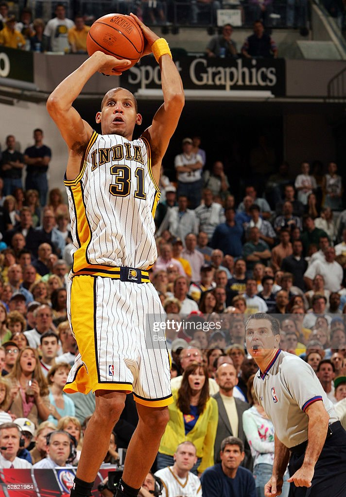 Reggie Miller of the Indiana Pacers takes the last shot of the game against the Detroit Pacers in Game three of the Eastern Conference Semifinals...