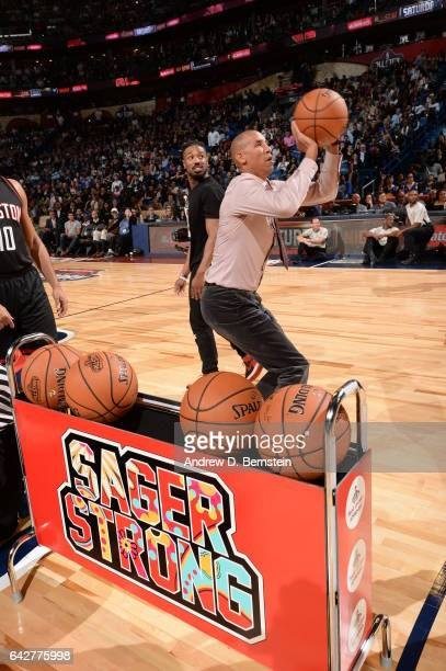 Reggie Miller shoot 3s for the Sager Strong Foundation during State Farm AllStar Saturday Night as part of the 2017 NBA AllStar Weekend on February...