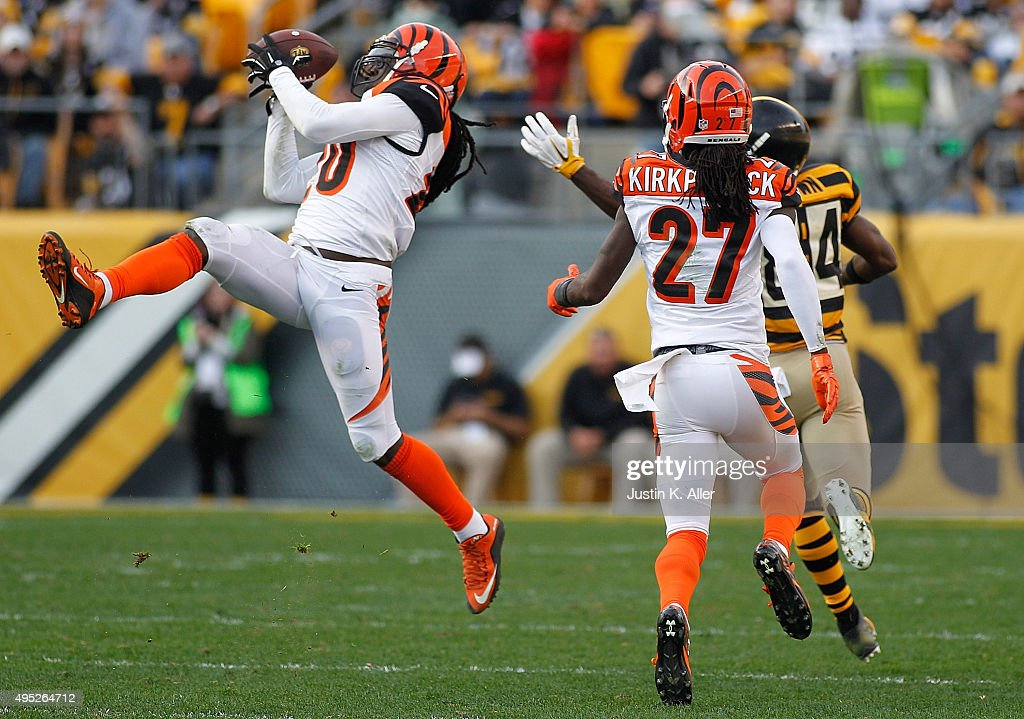 Reggie Nelson #20 of the Cincinnati Bengals intercepts a pass intended for Antonio Brown # 84 of the Pittsburgh Steelers during the game at Heinz Field on November 1, 2015 in Pittsburgh, Pennsylvania.