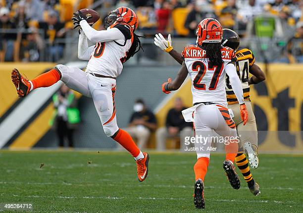 Reggie Nelson of the Cincinnati Bengals intercepts a pass intended for Antonio Brown of the Pittsburgh Steelers during the game at Heinz Field on...