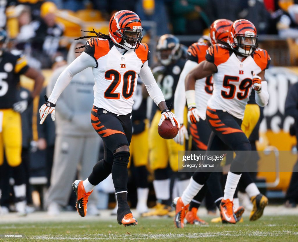 Reggie Nelson #20 of the Cincinnati Bengals reacts after a fourth quarter interception while playing the Pittsburgh Steelers at Heinz Field on December 23, 2012 in Pittsburgh, Pennsylvania. Cincinnati won the game 13-10.