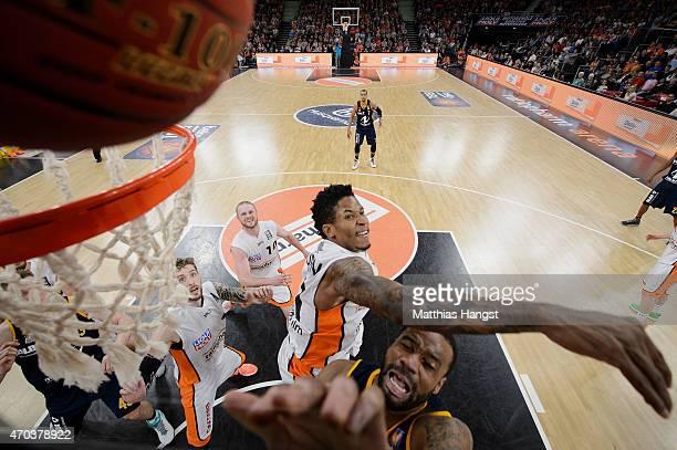 Reggie Redding of Berlin is challenged by Isaiah Philmore of Ulm during the Beko Basketball Bundesliga match between Ratiopharm Ulm and Alba Berlin...