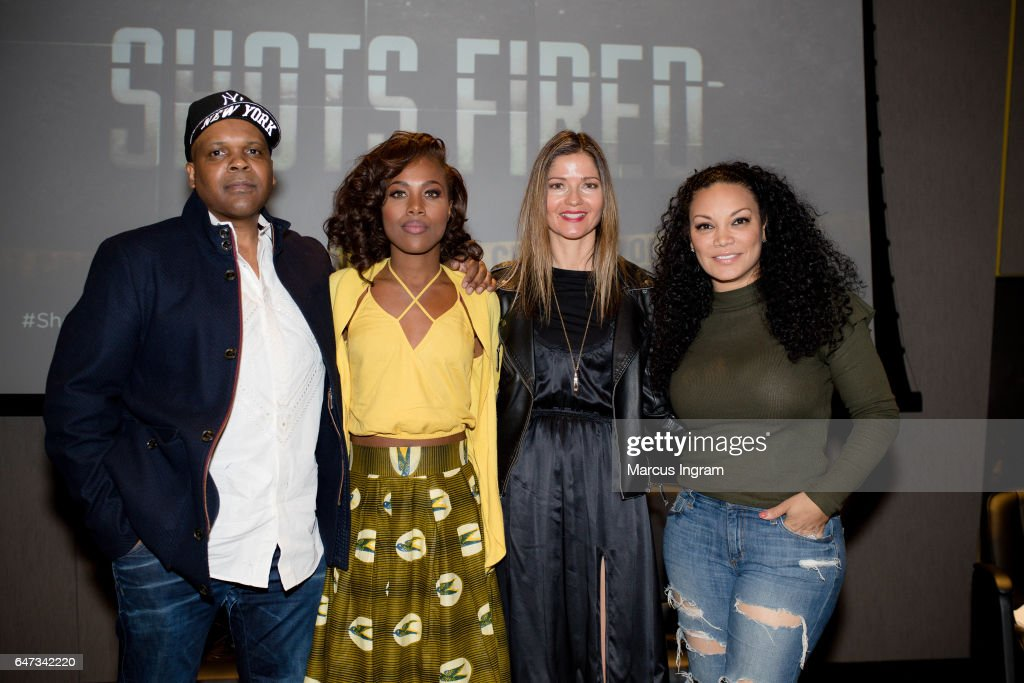 Reggie Rock Bythewood, DeWanda Wise, Jill Hennessy, and Egypt Sherrod attend the 2017 Black Women Film Summit opening night screening of 'Shots Fired' at National Center for Civil and Human Rights on March 2, 2017 in Atlanta, Georgia.