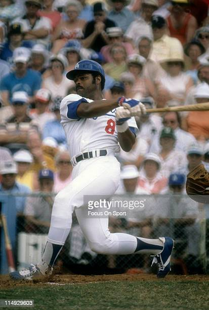 Reggie Smith of the Los Angeles Dodgers swings at a pitch during a spring training MLB baseball game circa 1997 at Holman Stadium in Vero Beach...