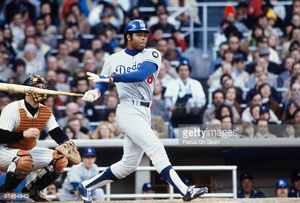 Reggie Smith of the Los Angeles Dodgers winds up for a pitch against the New York Yankees during the World Series at Yankee Stadium in Bronx NY in...