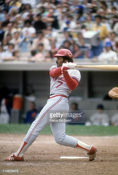 Reggie Smith of the St Louis Cardinals swings at a pitch against the New York Mets during a Major League Baseball game circa 1975 at Shea Stadium in...
