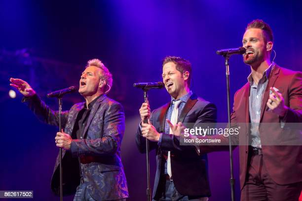 Reggie Smith Wes Hampton and Adam Crabb of the Gaither Vocal Band performs during the 48th Annual GMA Dove Awards in Allen Arena on October 17 2017...