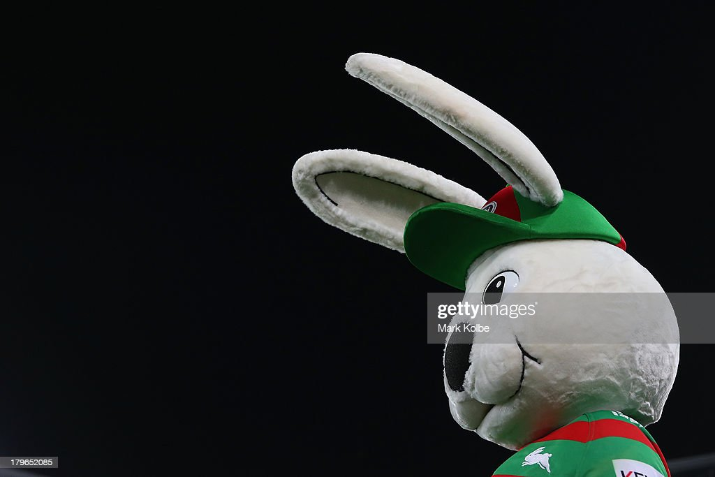 Reggie the Rabbitohs mascot watches on during the round 26 NRL match between the South Sydney Rabbitohs and the Sydney Roosters at ANZ Stadium on September 6, 2013 in Sydney, Australia.