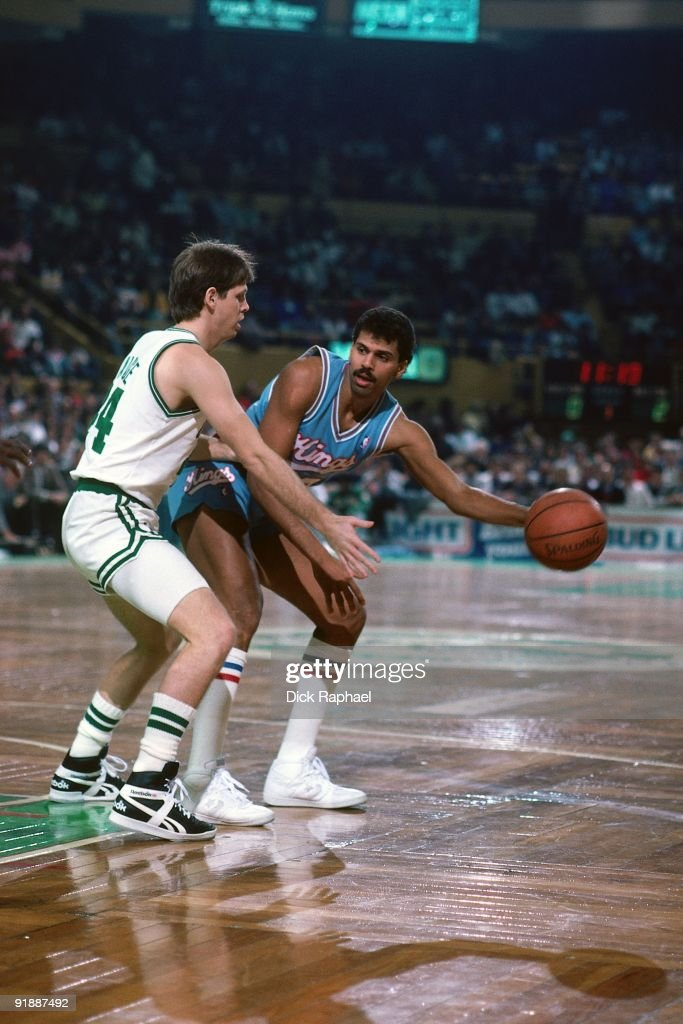 <a gi-track='captionPersonalityLinkClicked' href=/galleries/search?phrase=Reggie+Theus&family=editorial&specificpeople=821726 ng-click='$event.stopPropagation()'>Reggie Theus</a> #24 of the Sacramento Kings looks to make a move against <a gi-track='captionPersonalityLinkClicked' href=/galleries/search?phrase=Danny+Ainge&family=editorial&specificpeople=504679 ng-click='$event.stopPropagation()'>Danny Ainge</a> #44 of the Boston Celtics during a game played in 1987 at the Boston Garden in Boston, Massachusetts.