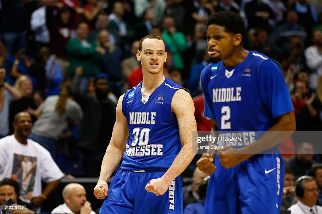 Reggie Upshaw of the Middle Tennessee Blue Raiders reacts after a dunk late in the game against the Michigan State Spartans during the first round of...