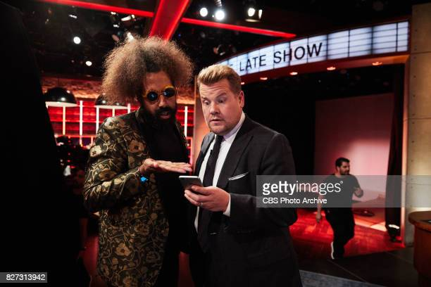 Reggie Watts and James Corden chat during 'The Late Late Show with James Corden' Friday July 28 2017 On The CBS Television Network