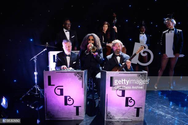 Reggie Watts and the Late Late Show Band performs an opening song celebrating the LGBTQ military service members during 'The Late Late Show with...