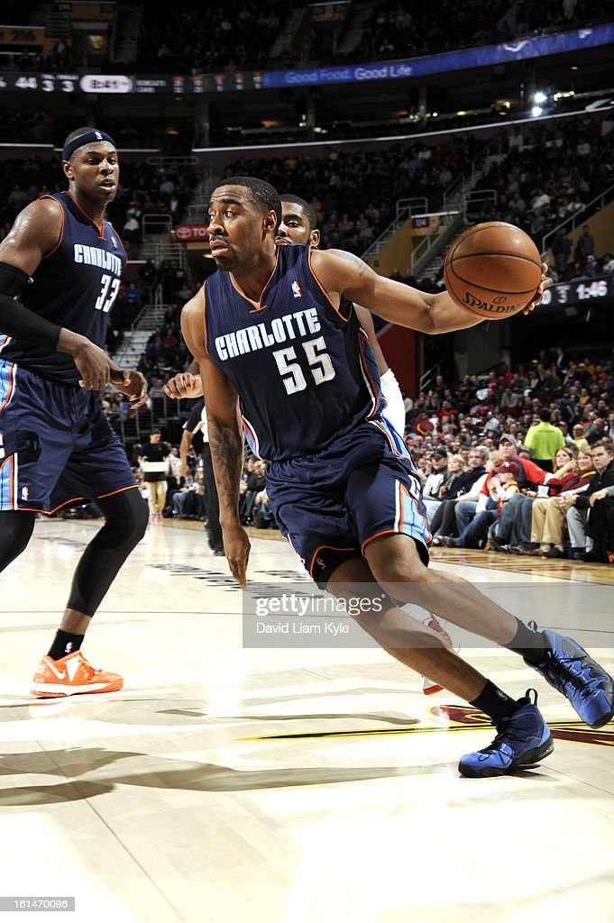 Reggie Williams #55 of the Charlotte Bobcats drives baseline to the hole against the Cleveland Cavaliers at The Quicken Loans Arena on February 6, 2013 in Cleveland, Ohio.