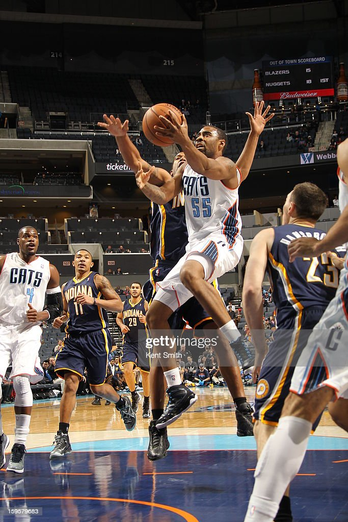 Reggie Williams #55 of the Charlotte Bobcats drives to the basket against the Indiana Pacers at the Time Warner Cable Arena on January 15, 2013 in Charlotte, North Carolina.